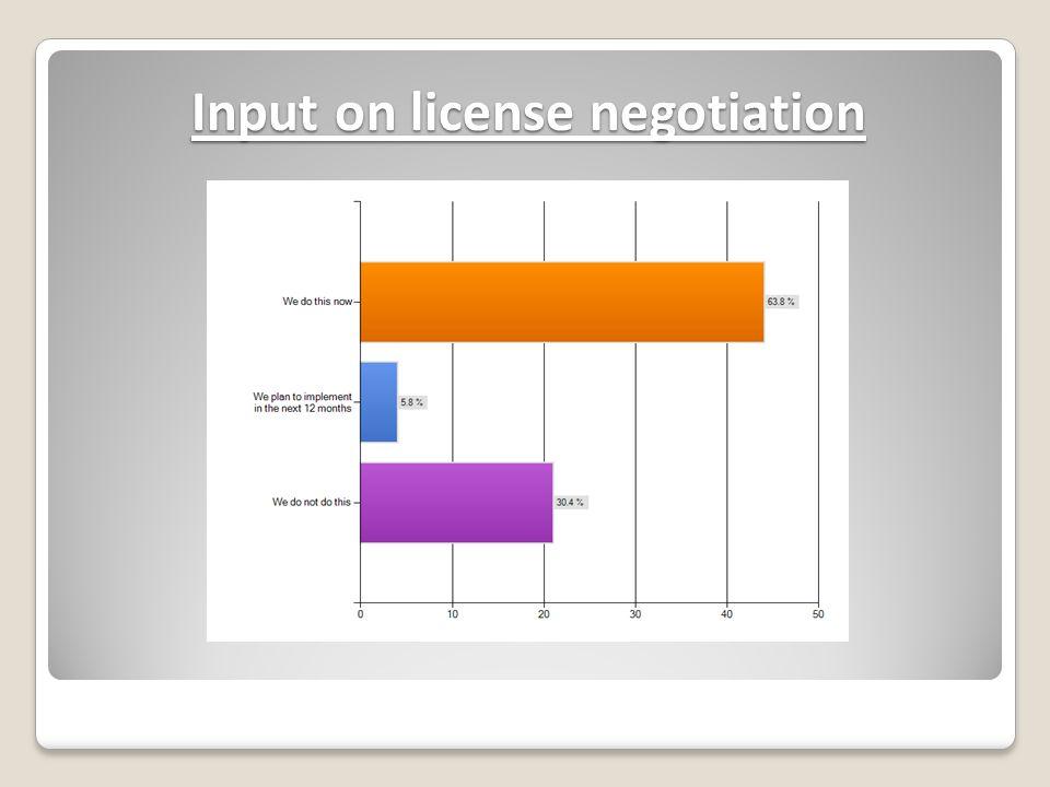 Input on license negotiation