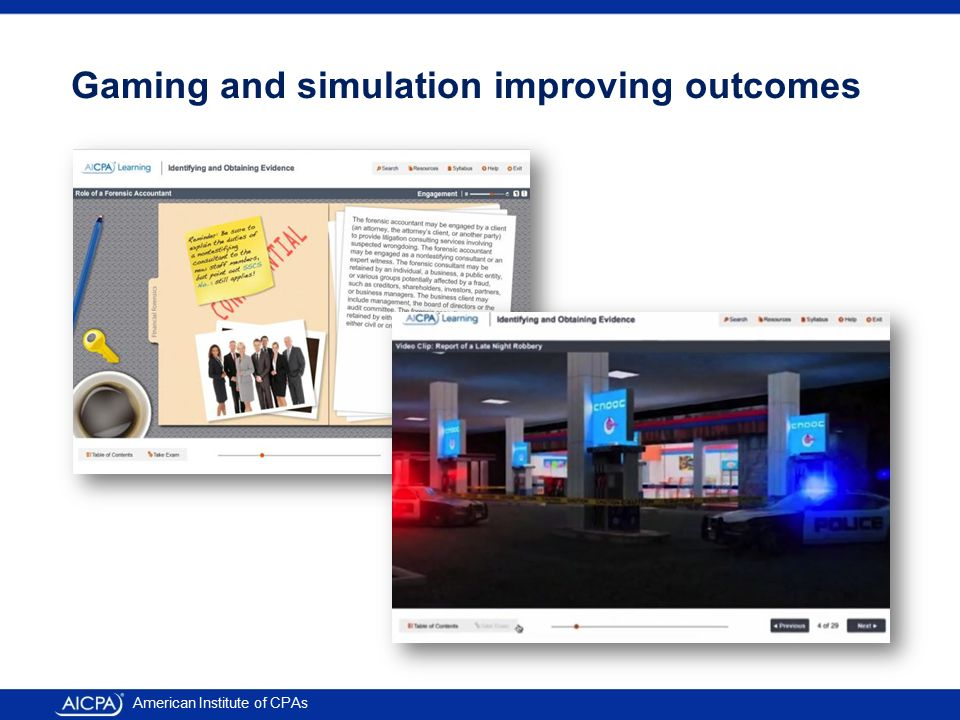American Institute of CPAs Gaming and simulation improving outcomes