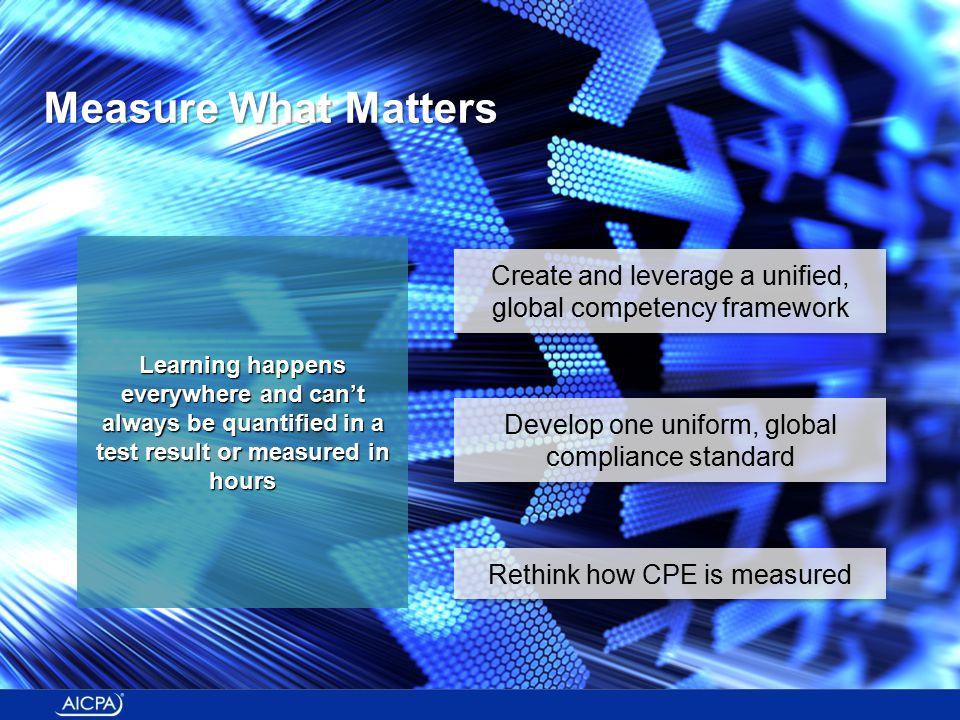 Learning happens everywhere and can't always be quantified in a test result or measured in hours Create and leverage a unified, global competency framework Rethink how CPE is measured Develop one uniform, global compliance standard Measure What Matters