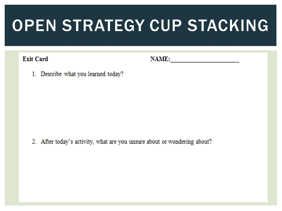 OPEN STRATEGY CUP STACKING