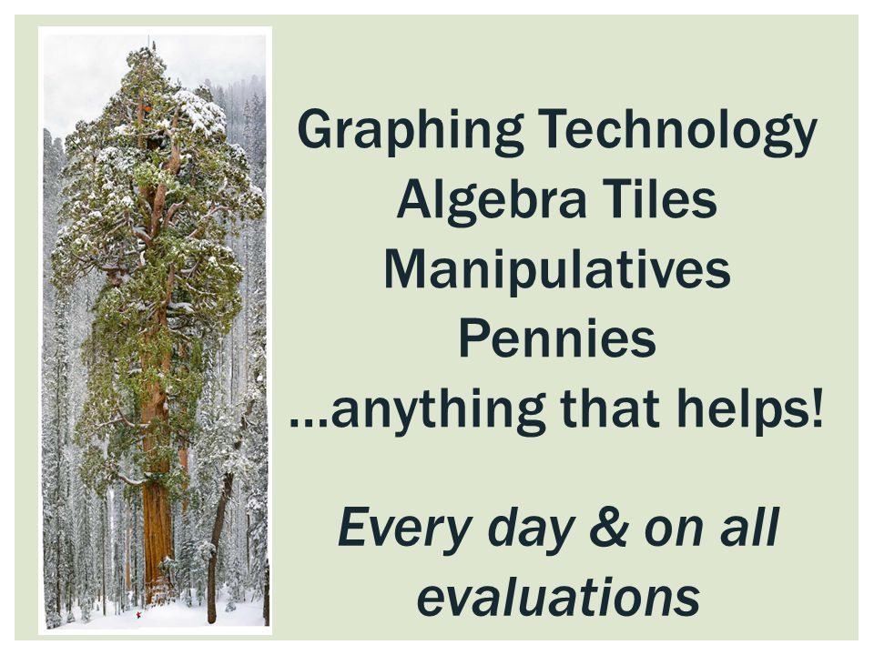 Every day & on all evaluations Graphing Technology Algebra Tiles Manipulatives Pennies …anything that helps!