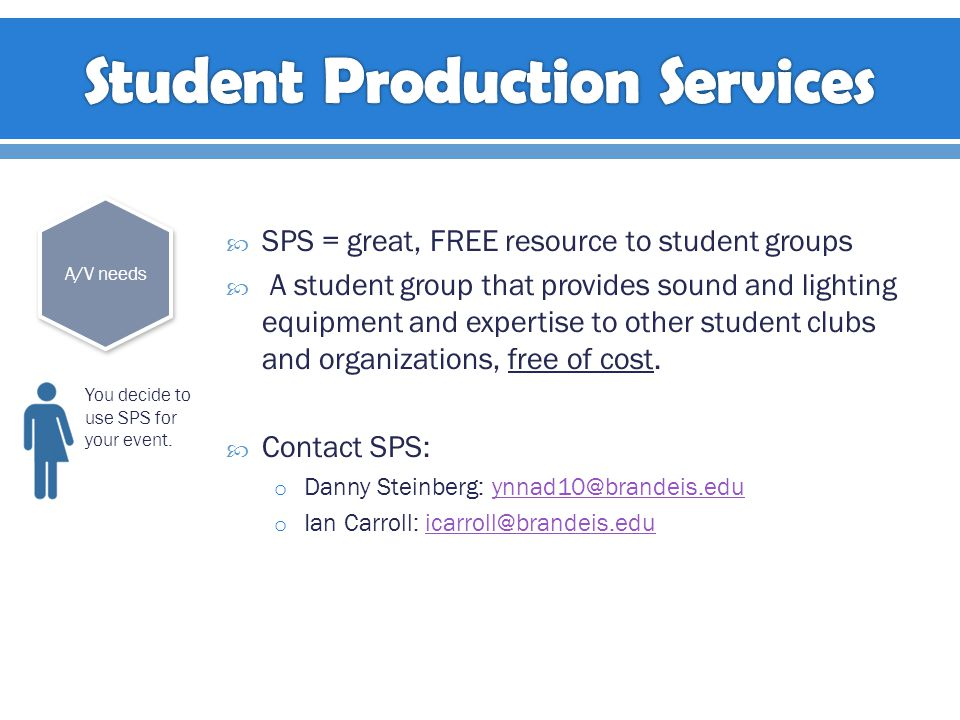  SPS = great, FREE resource to student groups  A student group that provides sound and lighting equipment and expertise to other student clubs and organizations, free of cost.