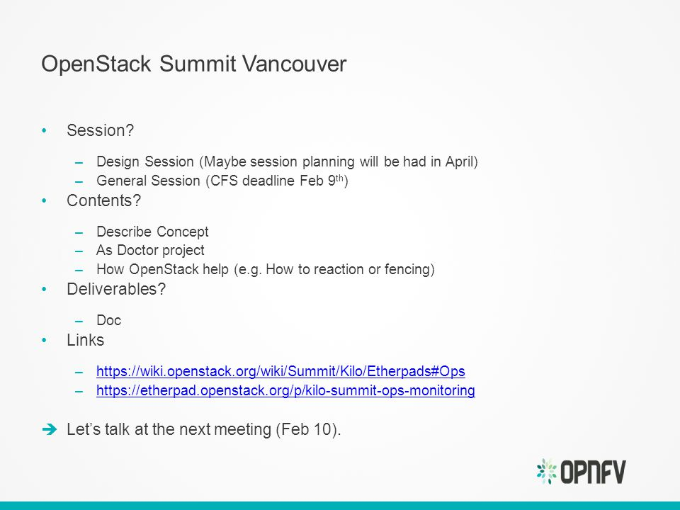 OpenStack Summit Vancouver Session.