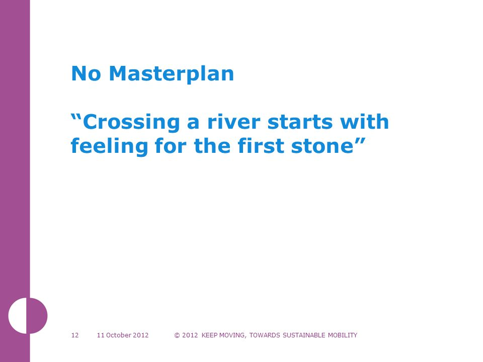 No Masterplan Crossing a river starts with feeling for the first stone 11 October 2012© 2012 KEEP MOVING, TOWARDS SUSTAINABLE MOBILITY12