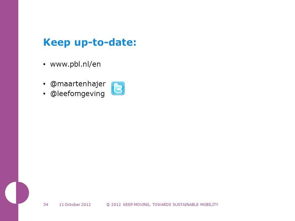 Keep up-to-date: www.pbl.nl/en @maartenhajer @leefomgeving 11 October 2012© 2012 KEEP MOVING, TOWARDS SUSTAINABLE MOBILITY34