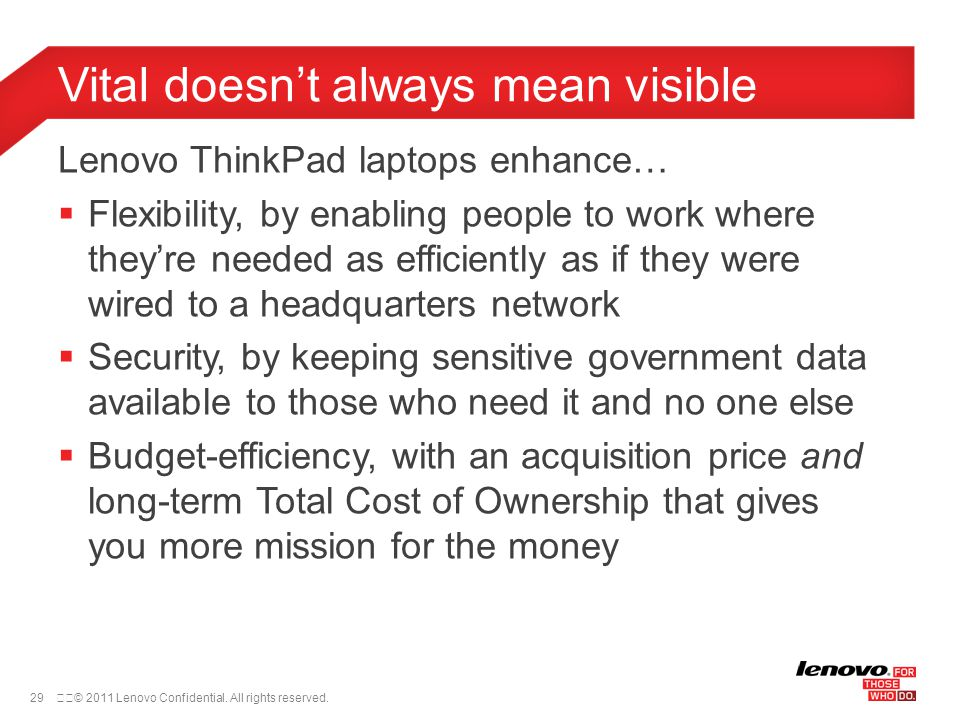 30© 2011 Lenovo Confidential.All rights reserved.