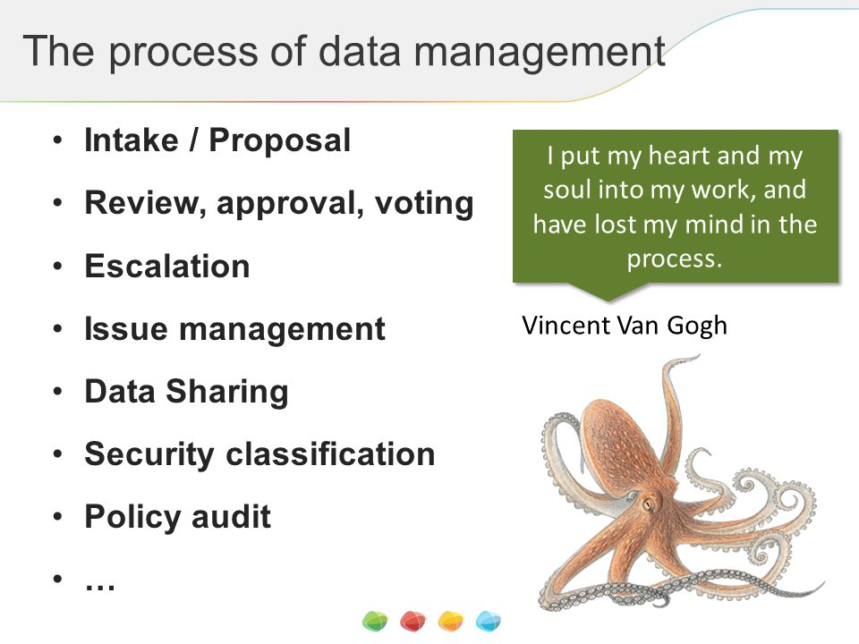 The process of data management I put my heart and my soul into my work, and have lost my mind in the process. Vincent Van Gogh Intake / Proposal Revie