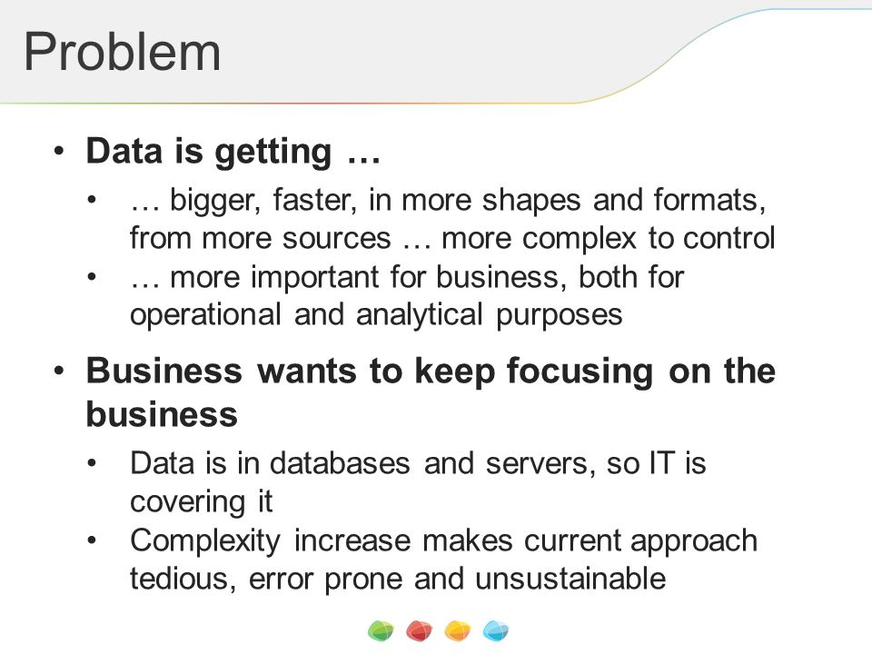 Problem Data is getting … … bigger, faster, in more shapes and formats, from more sources … more complex to control … more important for business, bot