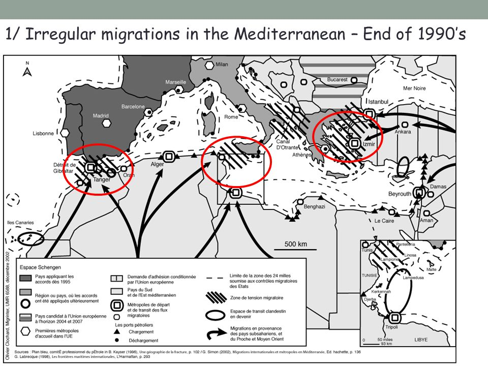 1/ Irregular migrations in the Mediterranean – End of 1990's