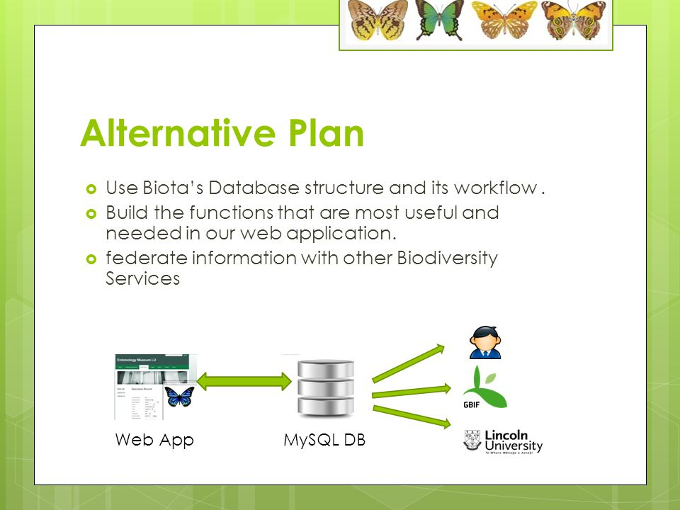 Pro & Con of alternative Plan ProCon More flexibilityHave to rethink whole workflow Better integration between user interface and database More work on rebuild UI and logic tier Less DB management as no 4D DB needed Save time compare to fix all the issue with biota