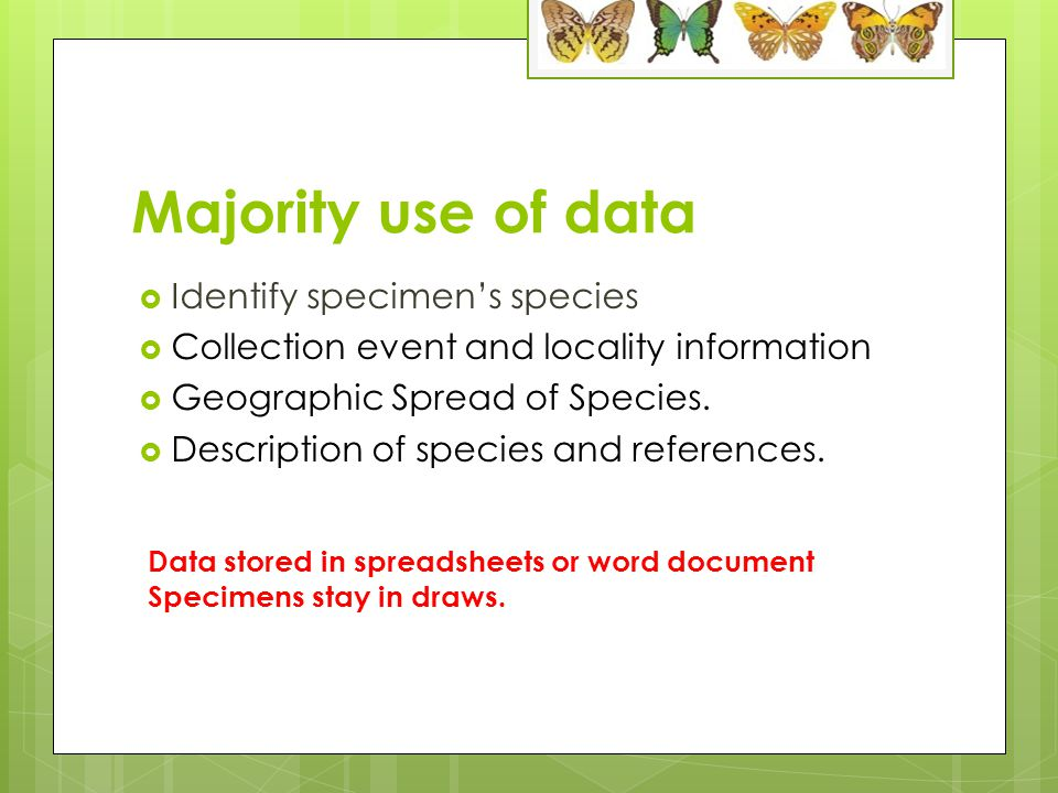 Majority use of data  Identify specimen's species  Collection event and locality information  Geographic Spread of Species.