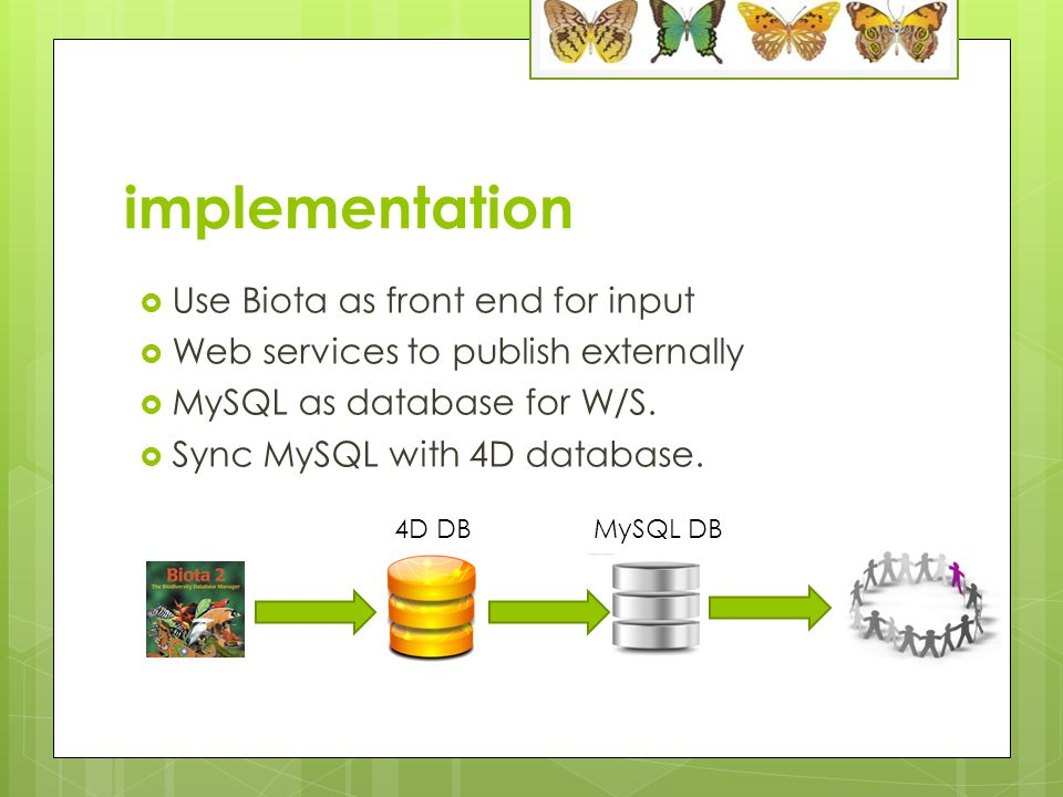implementation  Use Biota as front end for input  Web services to publish externally  MySQL as database for W/S.