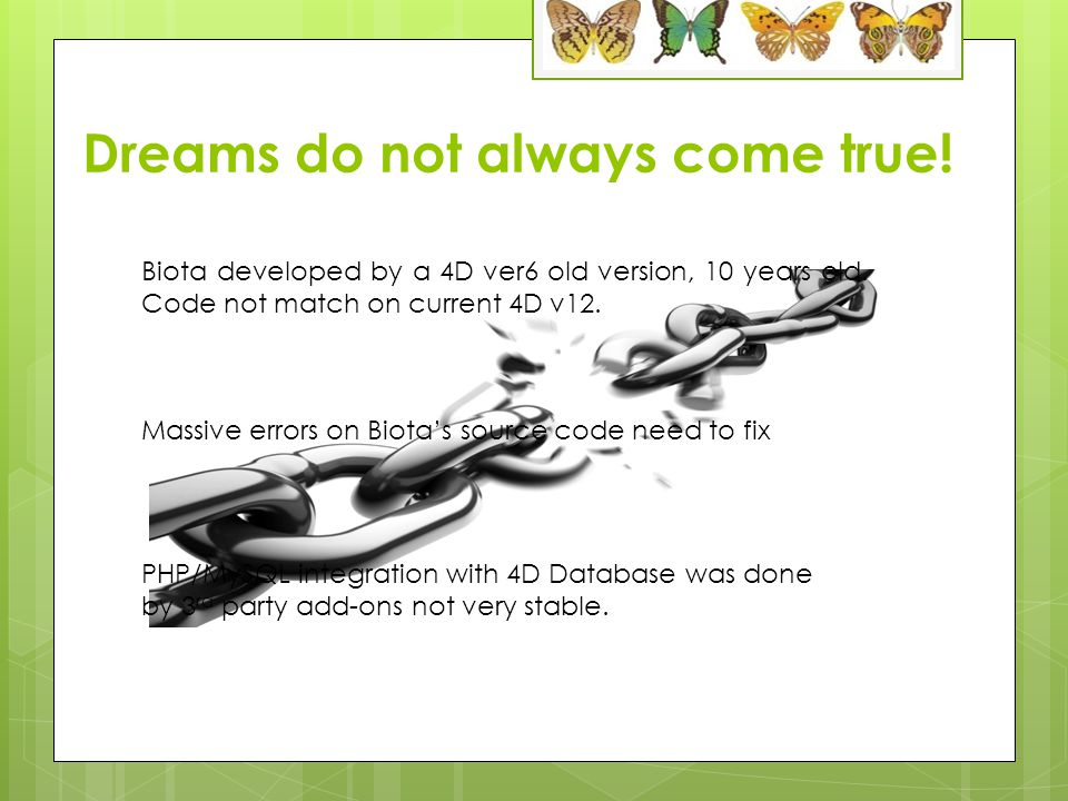 Dreams do not always come true. Biota developed by a 4D ver6 old version, 10 years old.