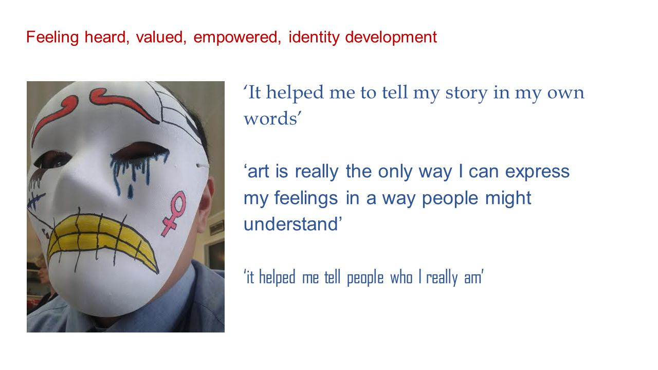 'It helped me to tell my story in my own words' 'art is really the only way I can express my feelings in a way people might understand' 'it helped me tell people who I really am' Feeling heard, valued, empowered, identity development