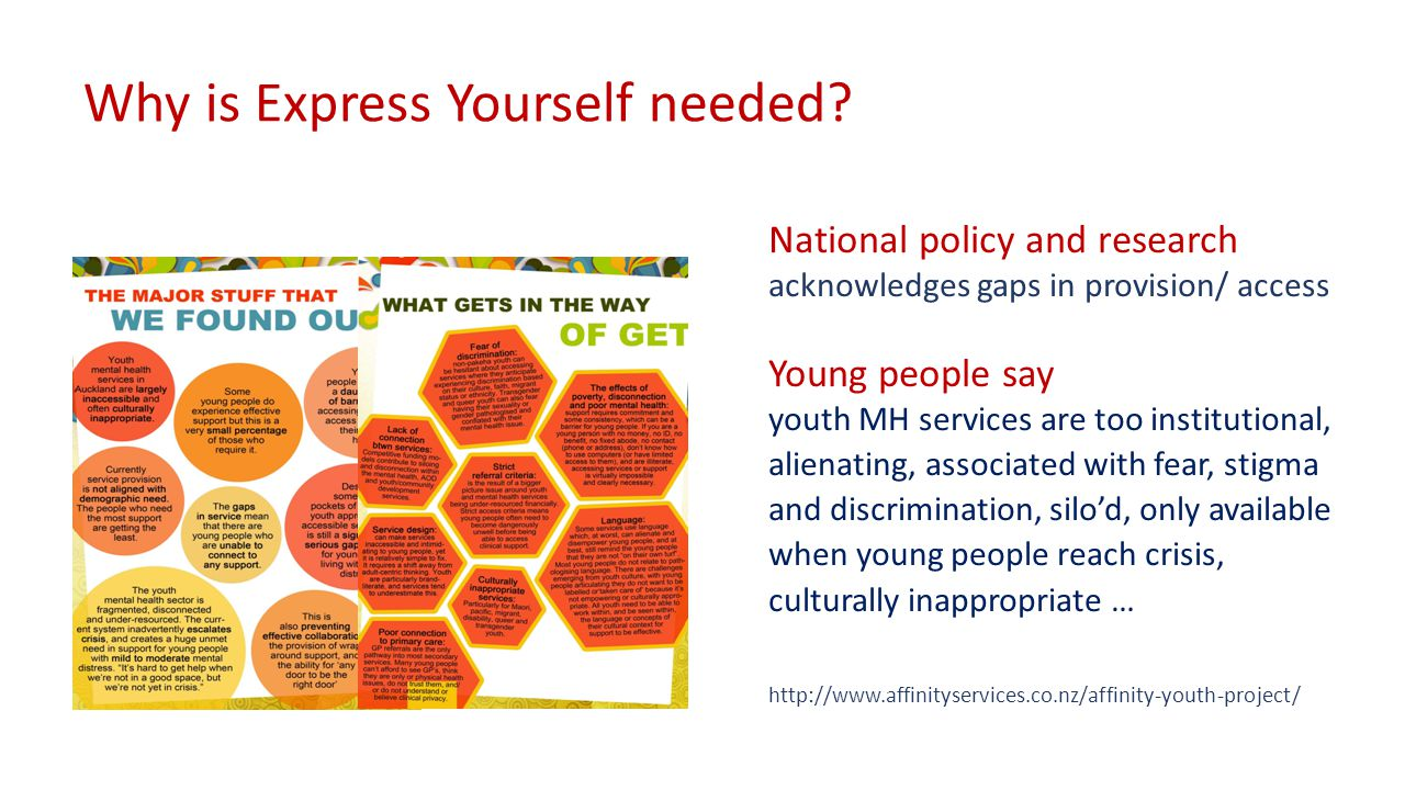 They want … more preventative, holistic, culturally appropriate, youth- focused, activity based, creativity, options which 'normalise' … information and tools to look after themselves … services designed WITH and BY young people Young people say they want a culture shift…