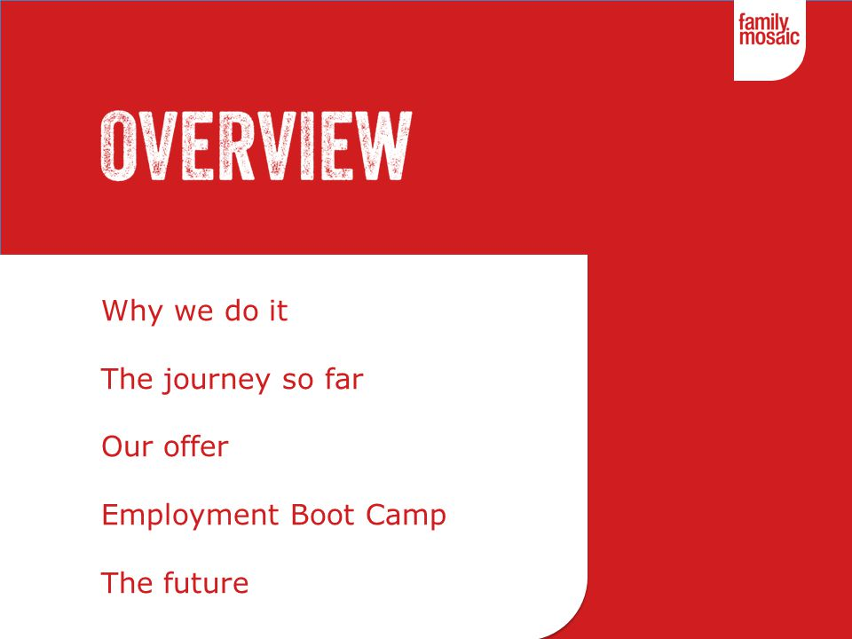 Why we do it The journey so far Our offer Employment Boot Camp The future