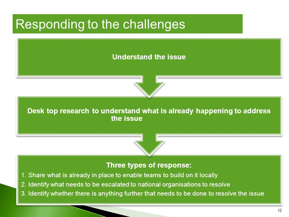 12 Three types of response: 1. Share what is already in place to enable teams to build on it locally 2. Identify what needs to be escalated to nationa