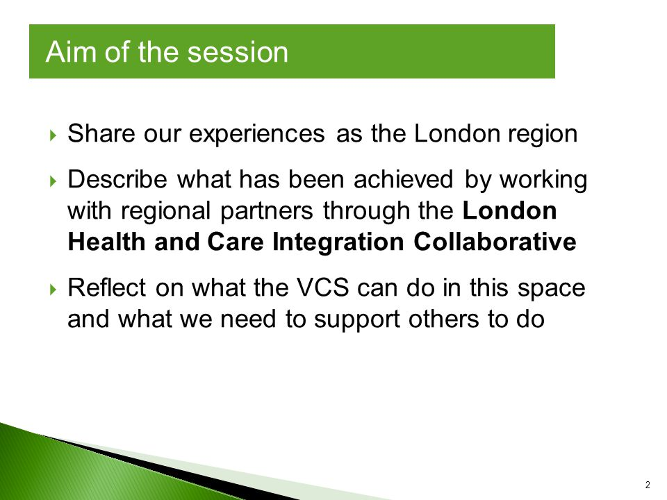  Share our experiences as the London region  Describe what has been achieved by working with regional partners through the London Health and Care Integration Collaborative  Reflect on what the VCS can do in this space and what we need to support others to do Aim of the session 2