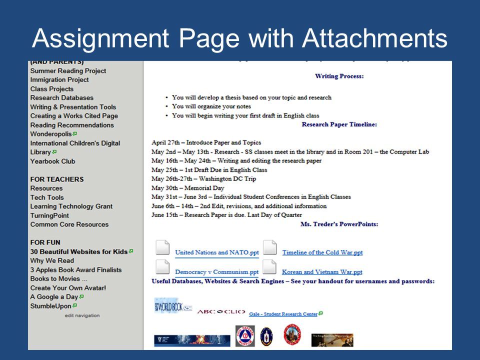 Assignment Page with Attachments