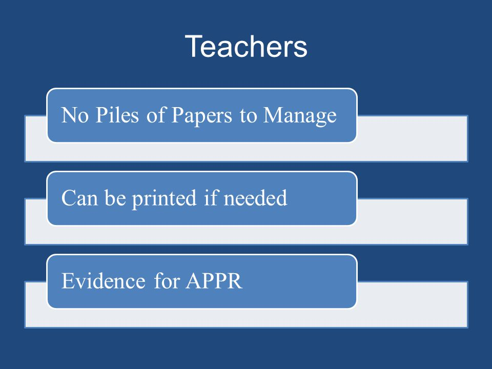Teachers No Piles of Papers to ManageCan be printed if neededEvidence for APPR
