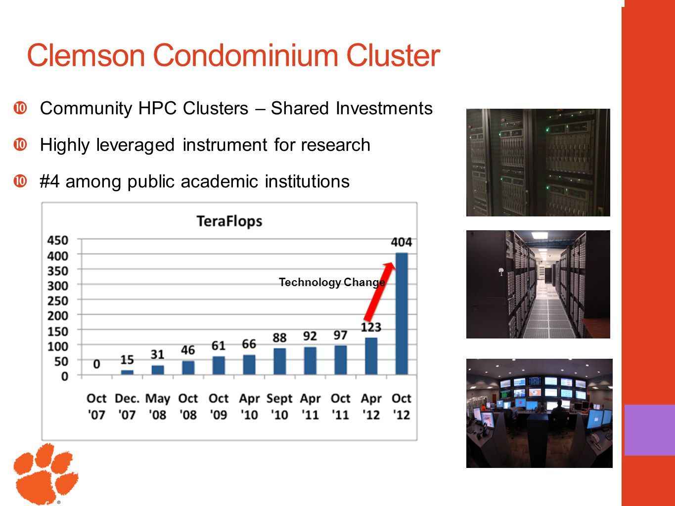 Clemson Condominium Cluster  Community HPC Clusters – Shared Investments  Highly leveraged instrument for research  #4 among public academic instit