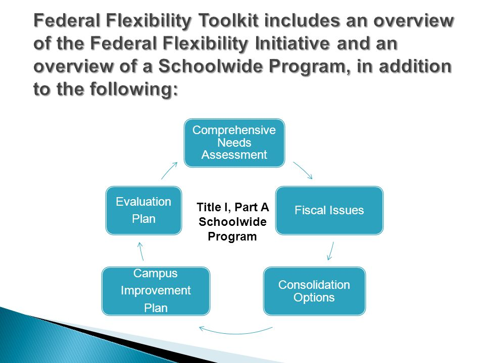 Comprehensive Needs Assessment Fiscal Issues Consolidation Options Campus Improvement Plan Evaluation Plan Title I, Part A Schoolwide Program