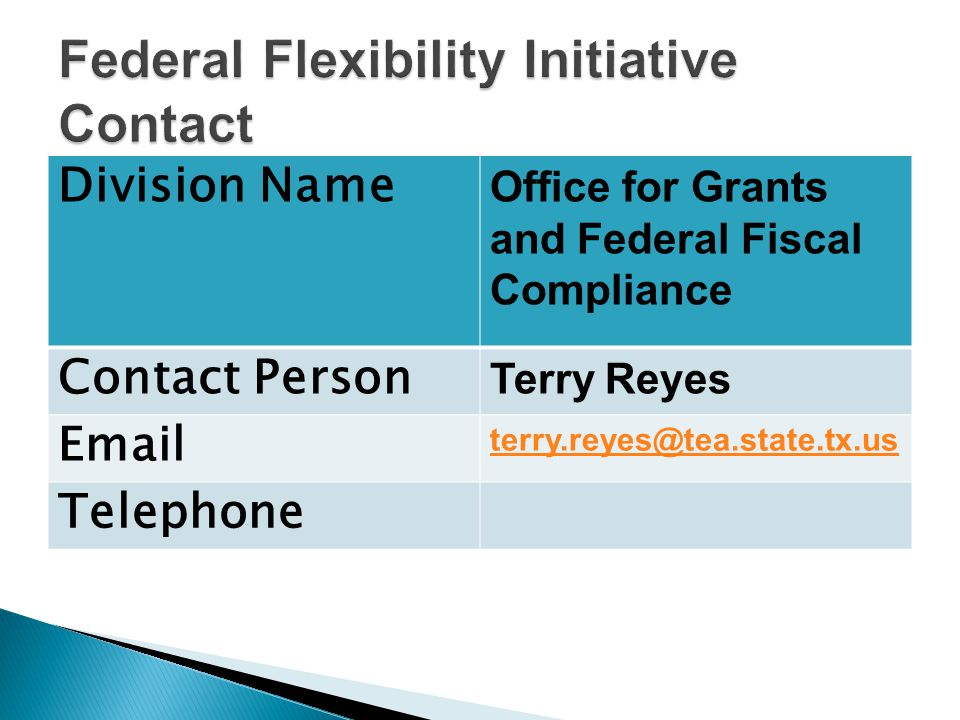 Division Name Office for Grants and Federal Fiscal Compliance Contact Person Terry Reyes Email terry.reyes@tea.state.tx.us Telephone
