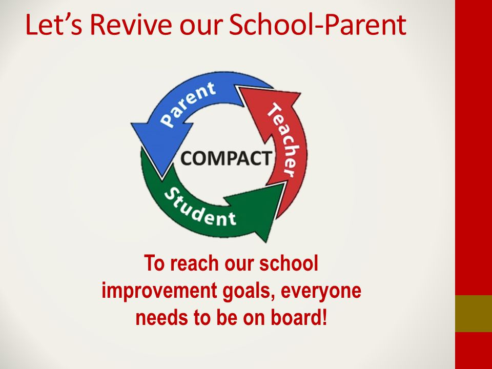 Let's Revive our School-Parent To reach our school improvement goals, everyone needs to be on board!