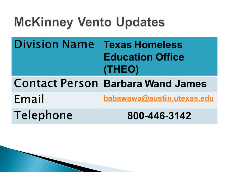 Division Name Texas Homeless Education Office (THEO) Contact Person Barbara Wand James Email babawawa@austin.utexas.edu Telephone 800-446-3142