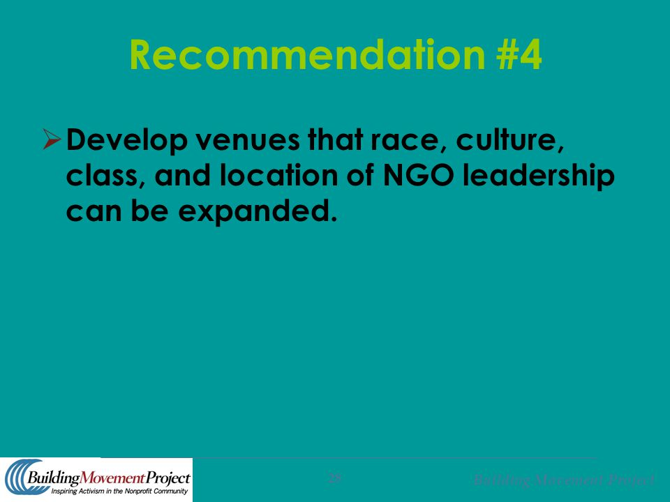 Building Movement Project 28 Recommendation #4  Develop venues that race, culture, class, and location of NGO leadership can be expanded.