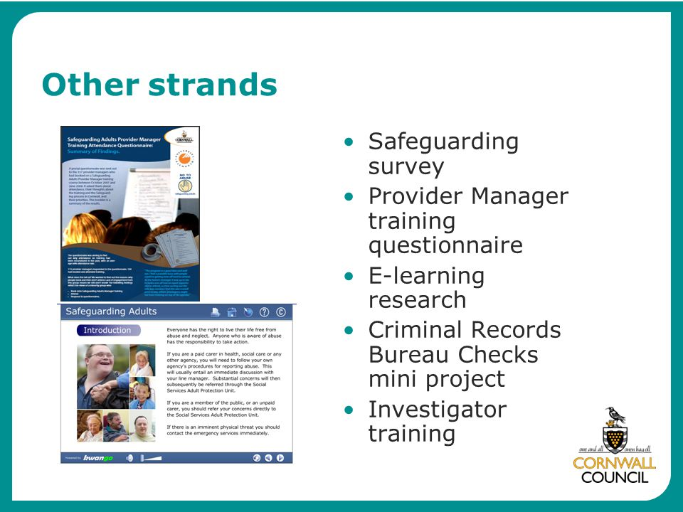 Other strands Safeguarding survey Provider Manager training questionnaire E-learning research Criminal Records Bureau Checks mini project Investigator