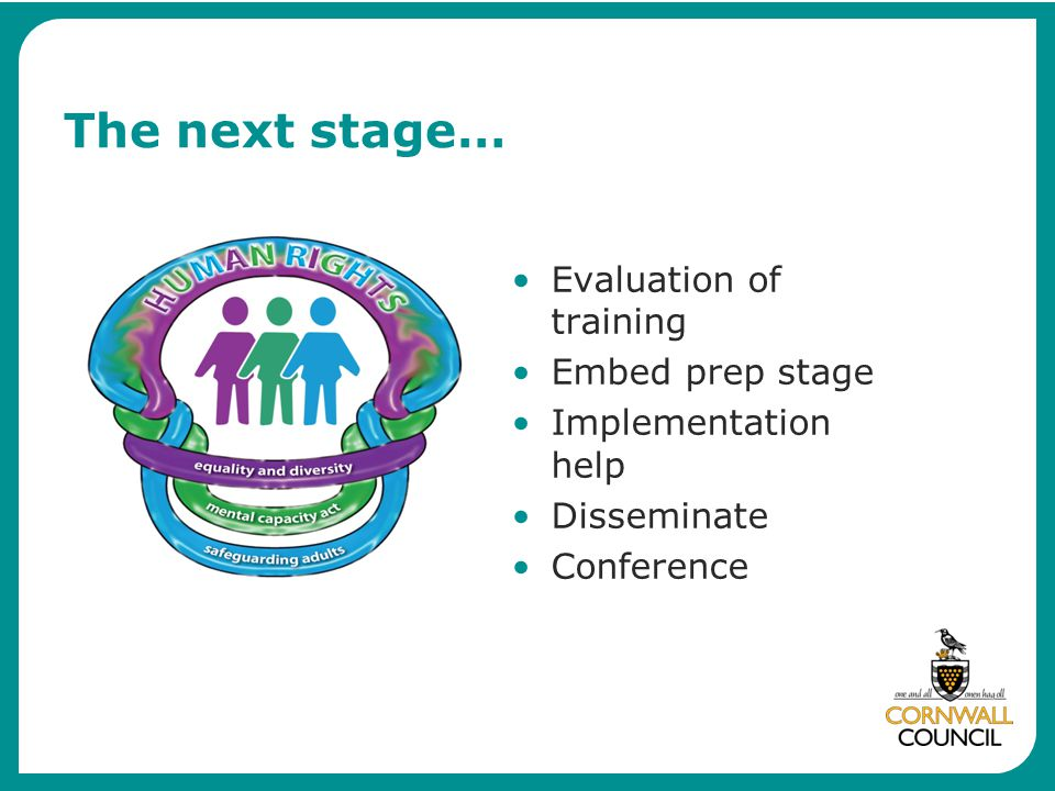 The next stage… Evaluation of training Embed prep stage Implementation help Disseminate Conference