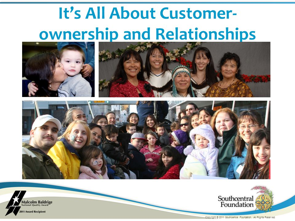 It's All About Customer- ownership and Relationships Copyright © 2011 Southcentral Foundation.