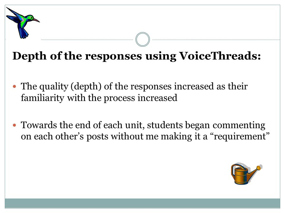 Depth of the responses using VoiceThreads: The quality (depth) of the responses increased as their familiarity with the process increased Towards the end of each unit, students began commenting on each other's posts without me making it a requirement
