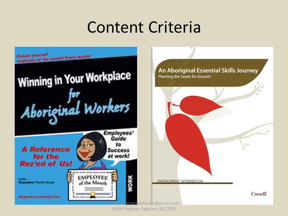 Content Criteria christinepinsentjohnson@gmail.com SARN Webinar February 25, 2015