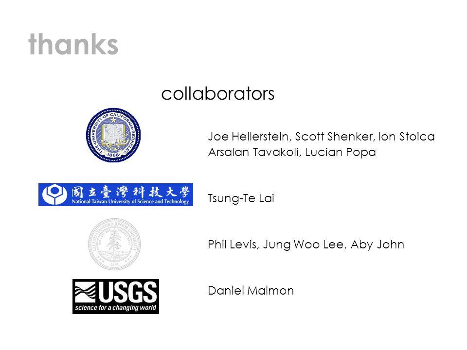 thanks collaborators Joe Hellerstein, Scott Shenker, Ion Stoica Arsalan Tavakoli, Lucian Popa Tsung-Te Lai Phil Levis, Jung Woo Lee, Aby John Daniel M