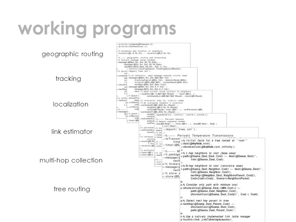 working programs geographic routing tracking localization link estimator multi-hop collection tree routing