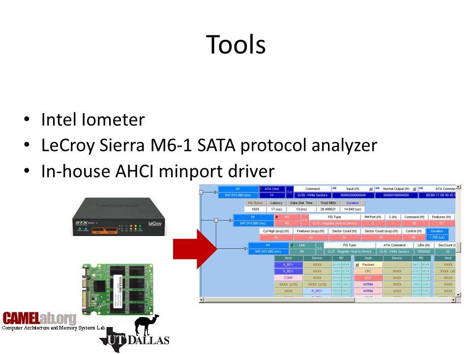 Tools Intel Iometer LeCroy Sierra M6-1 SATA protocol analyzer In-house AHCI minport driver