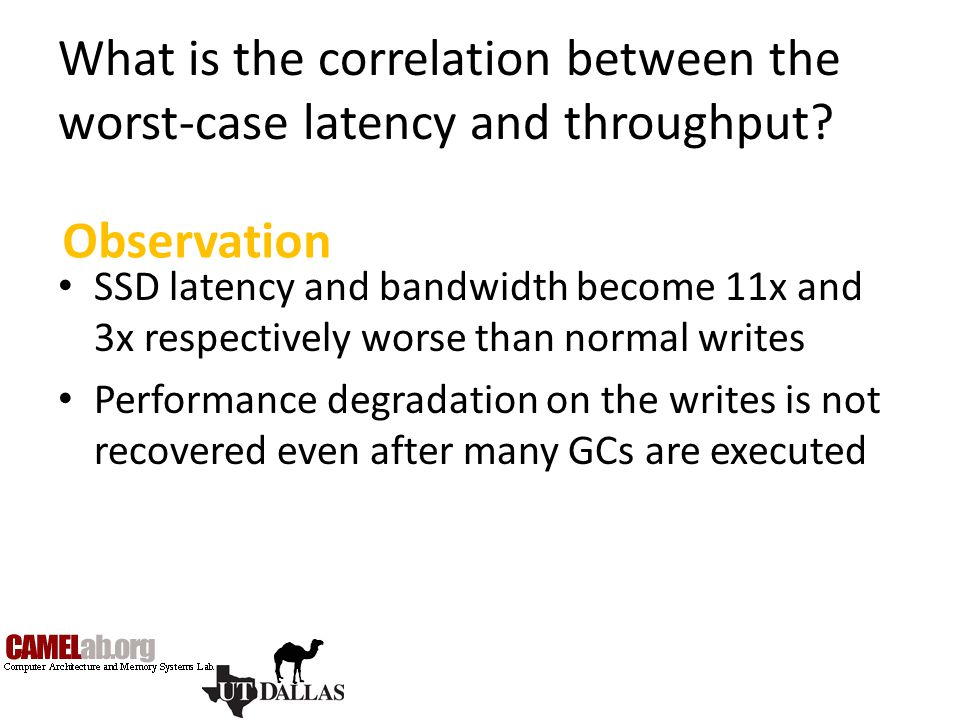 What is the correlation between the worst-case latency and throughput? SSD latency and bandwidth become 11x and 3x respectively worse than normal writ