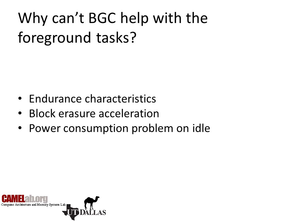 Why can't BGC help with the foreground tasks? Endurance characteristics Block erasure acceleration Power consumption problem on idle