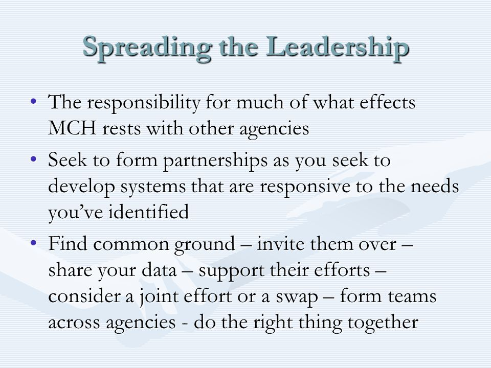 Spreading the Leadership The responsibility for much of what effects MCH rests with other agenciesThe responsibility for much of what effects MCH rests with other agencies Seek to form partnerships as you seek to develop systems that are responsive to the needs you've identifiedSeek to form partnerships as you seek to develop systems that are responsive to the needs you've identified Find common ground – invite them over – share your data – support their efforts – consider a joint effort or a swap – form teams across agencies - do the right thing togetherFind common ground – invite them over – share your data – support their efforts – consider a joint effort or a swap – form teams across agencies - do the right thing together