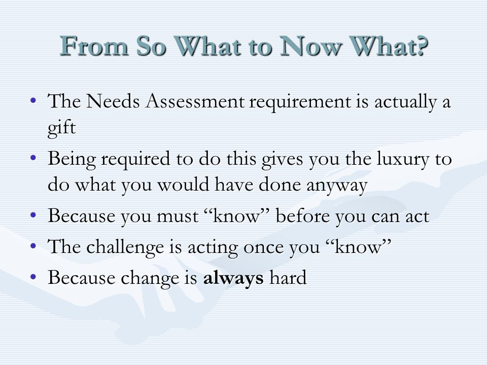 From So What to Now What.