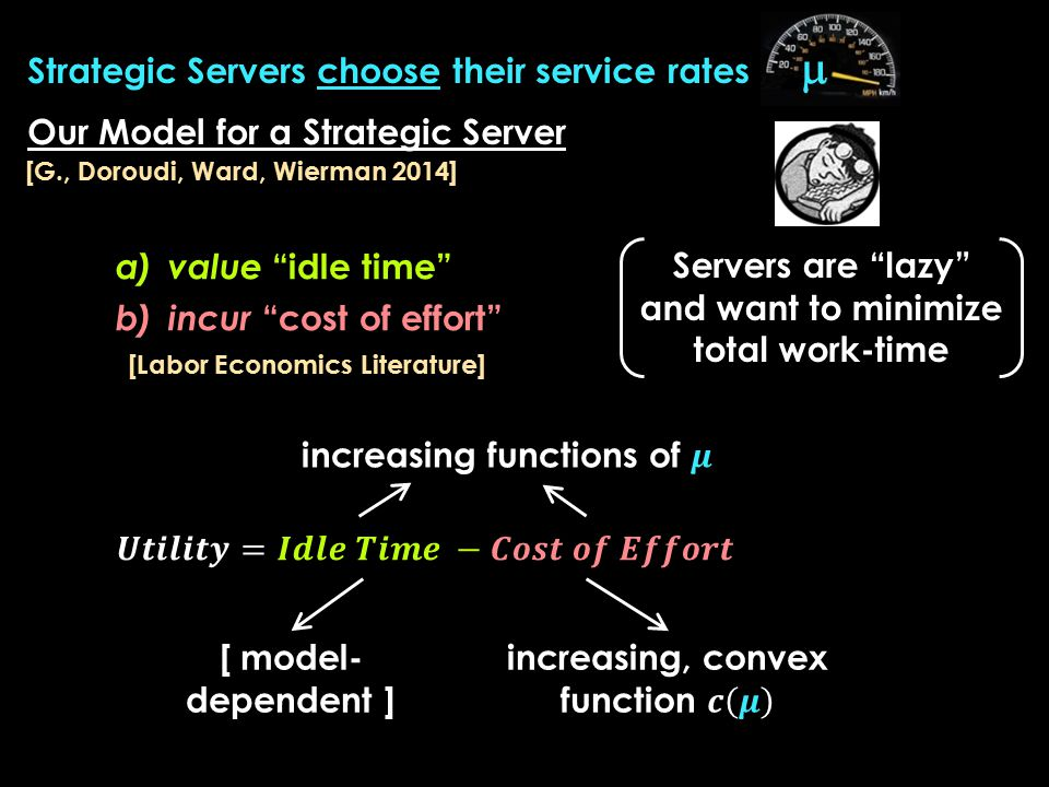 Our Model for a Strategic Server Servers are lazy and want to minimize total work-time a)value idle time b)incur cost of effort [Labor Economics Literature] [G., Doroudi, Ward, Wierman 2014]  Strategic Servers choose their service rates [ model- dependent ]