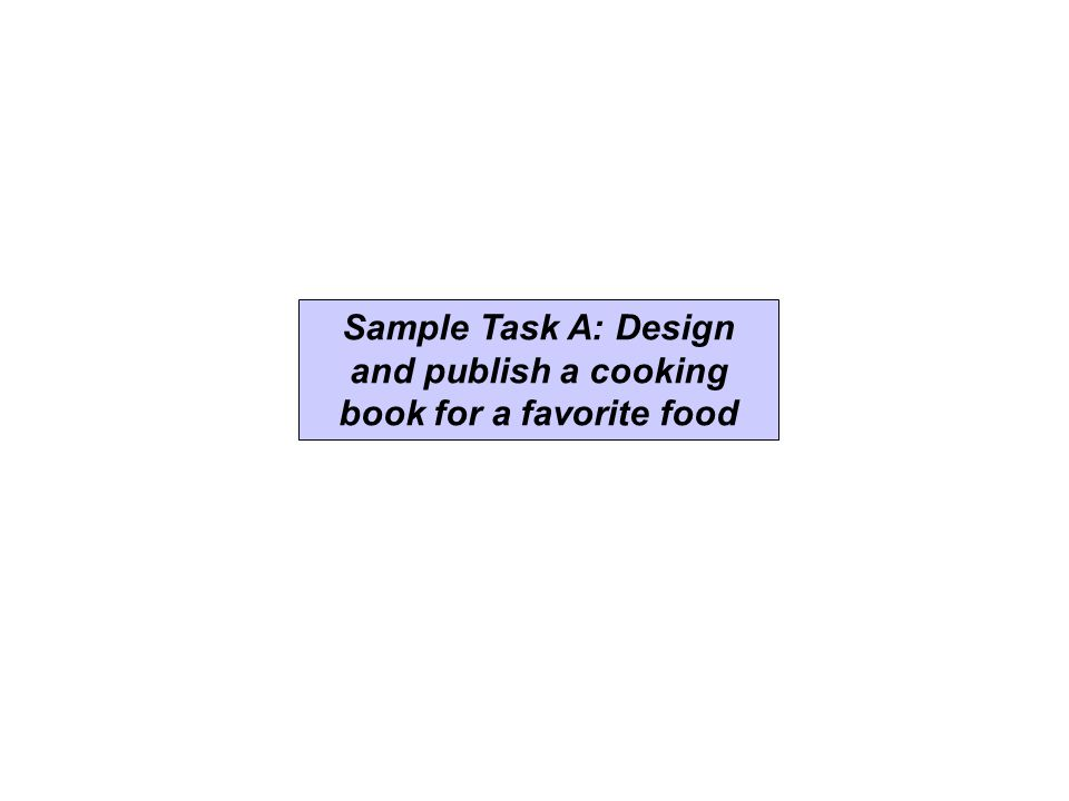 Sample Task A: Design and publish a cooking book for a favorite food