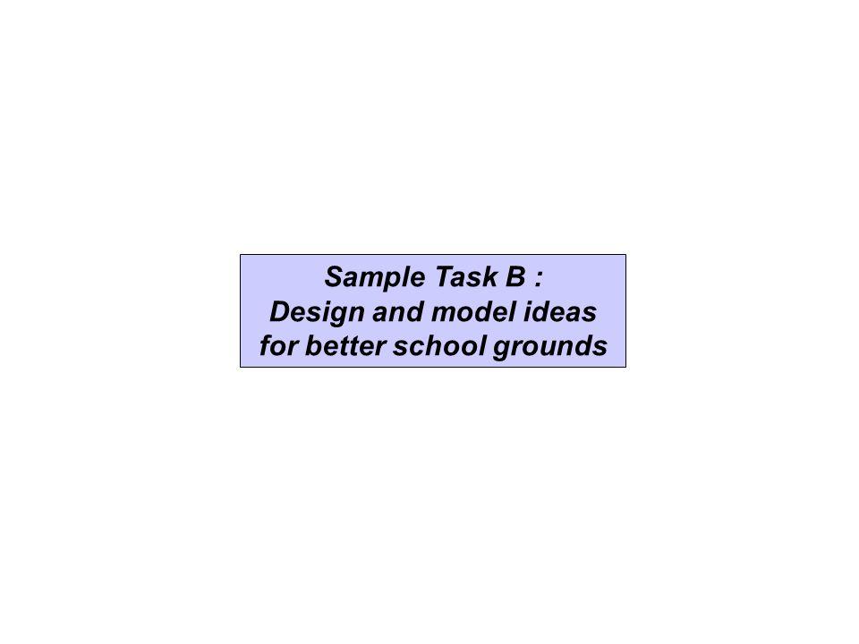 Sample Task B : Design and model ideas for better school grounds