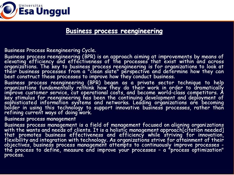 Business process reengineering Business Process Reengineering Cycle.