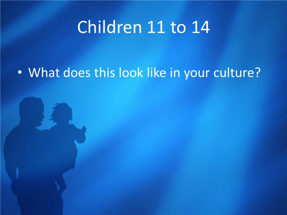 Children 11 to 14 What does this look like in your culture