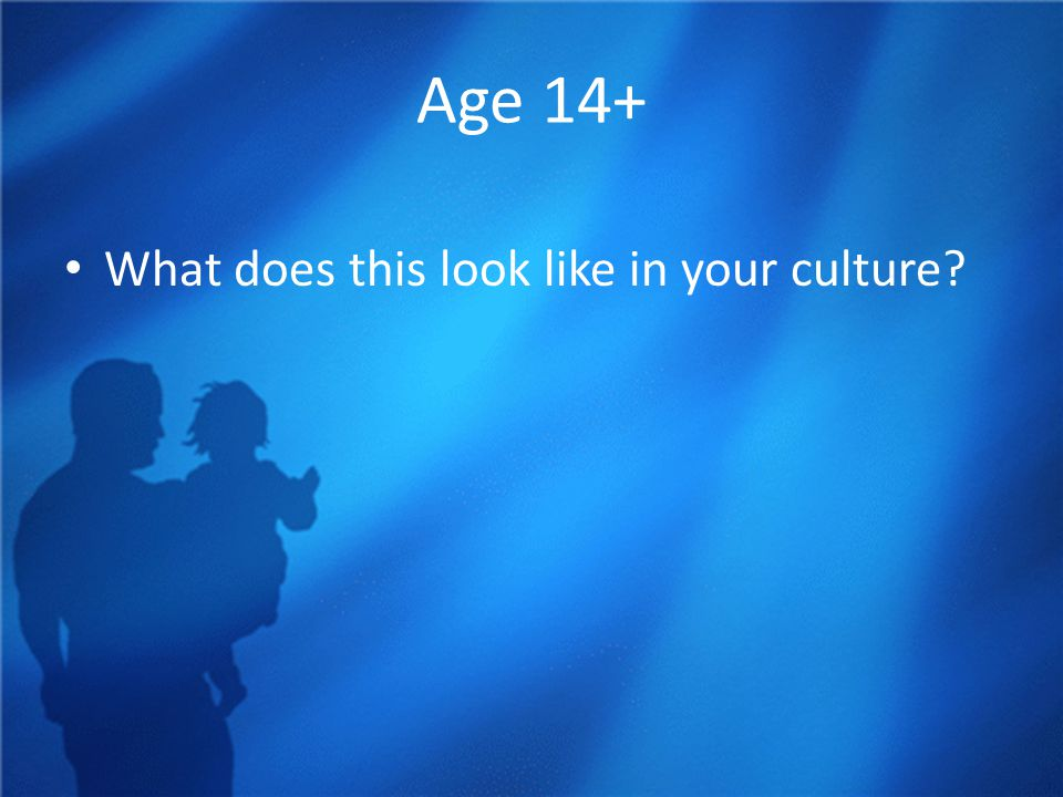Age 14+ What does this look like in your culture?