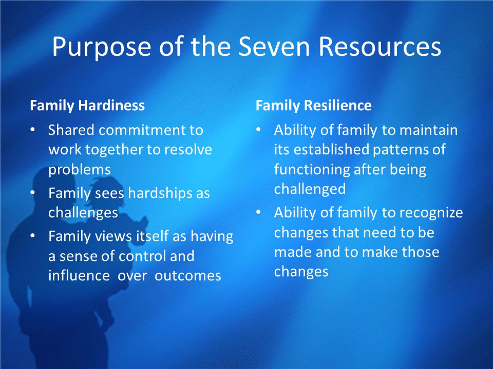 Purpose of the Seven Resources Family Hardiness Shared commitment to work together to resolve problems Family sees hardships as challenges Family views itself as having a sense of control and influence over outcomes Family Resilience Ability of family to maintain its established patterns of functioning after being challenged Ability of family to recognize changes that need to be made and to make those changes