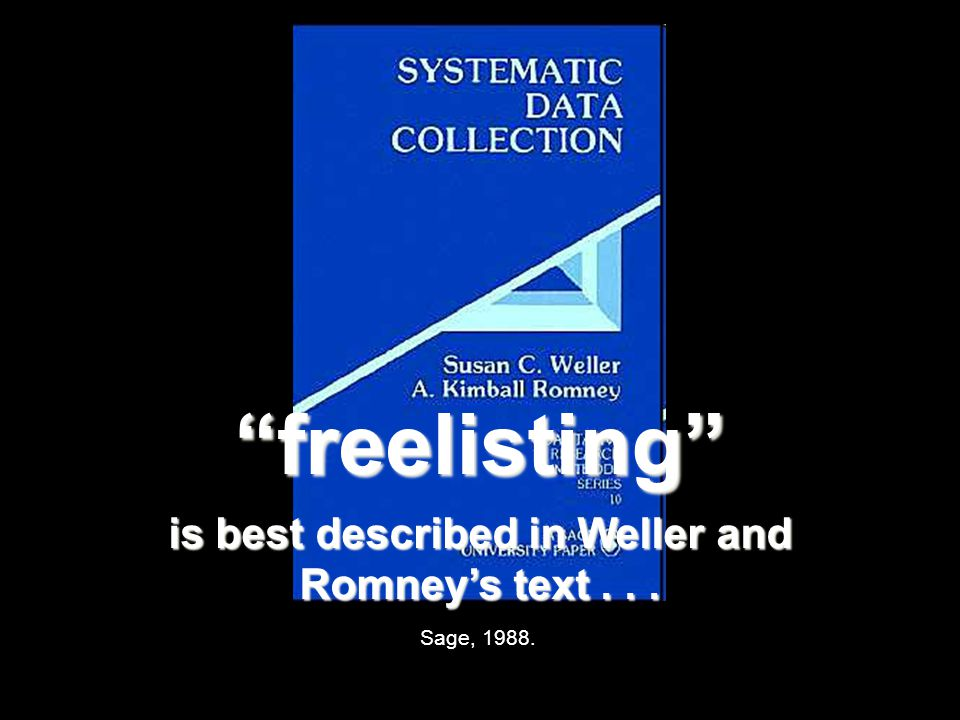 Sage, 1988. freelisting is best described in Weller and Romney's text...
